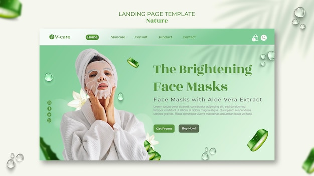 Design de modelo de página de destino de cosméticos naturais de aloe vera