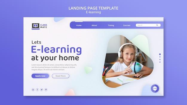 Design de modelo de página de destino de e-learning