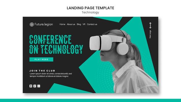 Design de modelo de página de destino de tecnologia
