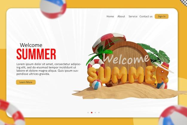 Design de modelo de página de destino de verão welcom