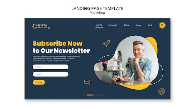 Design de modelo de página de destino para boletim informativo
