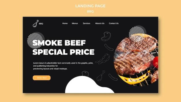Design de modelo de página de destino para churrasco