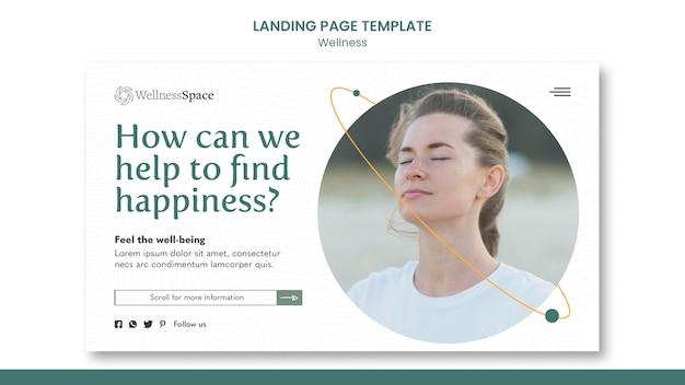 Design de modelo de página de destino para felicidade e bem-estar