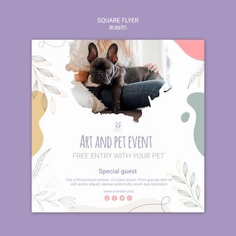 Design de modelo de panfleto de arte e animais de estimação