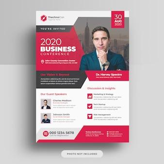 Design de modelo de panfleto de capa de conferência a4 de negócios corporativos