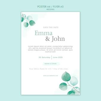 Design de modelo de panfleto de casamento