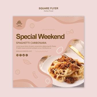 Design de modelo de panfleto de comida italiana