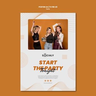 Design de modelo de panfleto de conceito de festa