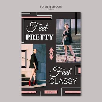 Design de modelo de panfleto de conceito de moda