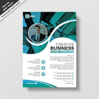 Design de modelo de panfleto de estilo criativo verde-azulado