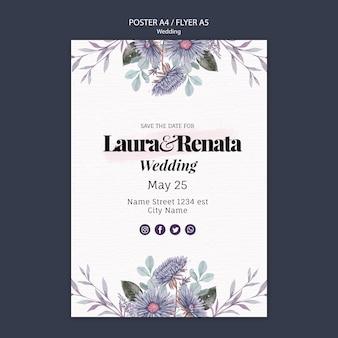 Design de modelo de panfleto de evento de casamento