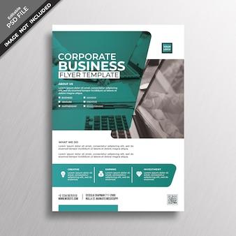 Design de modelo de panfleto de negócios de estilo profissional de verde azul