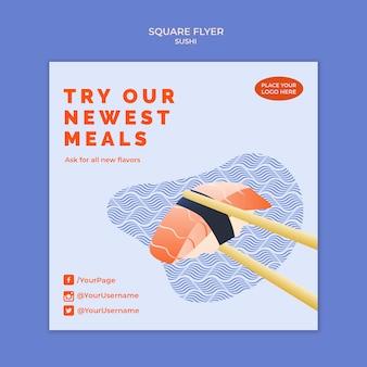 Design de modelo de panfleto de sushi