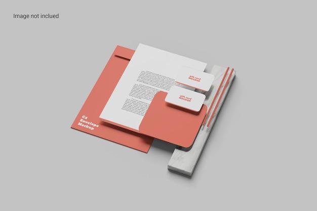 Design de modelo de papelaria em perspectiva