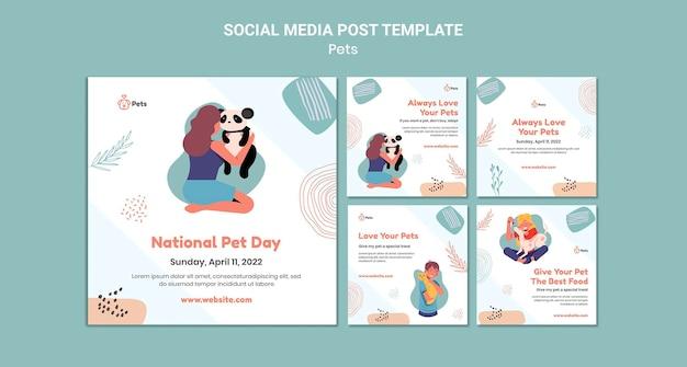 Design de modelo de postagem de animal de estimação para mídia social