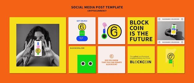 Design de modelo de postagem de criptomoeda em mídia social