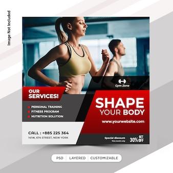 Design de modelo de postagem de fitness instagram