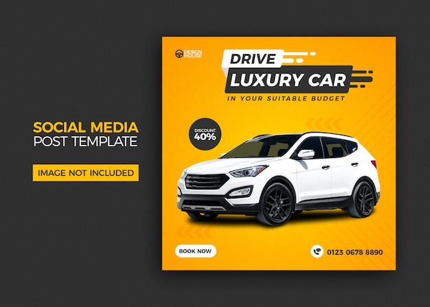 Design de modelo de postagem de mídia social de carro de aluguel