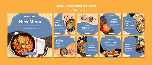 Design de modelo de postagem de mídia social de restaurante