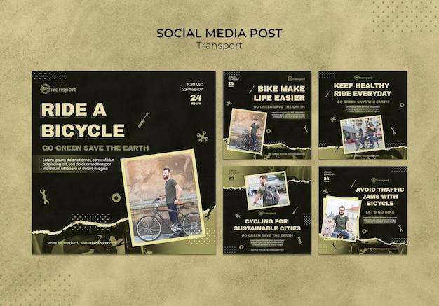 Design de modelo de postagem de mídia social de transporte