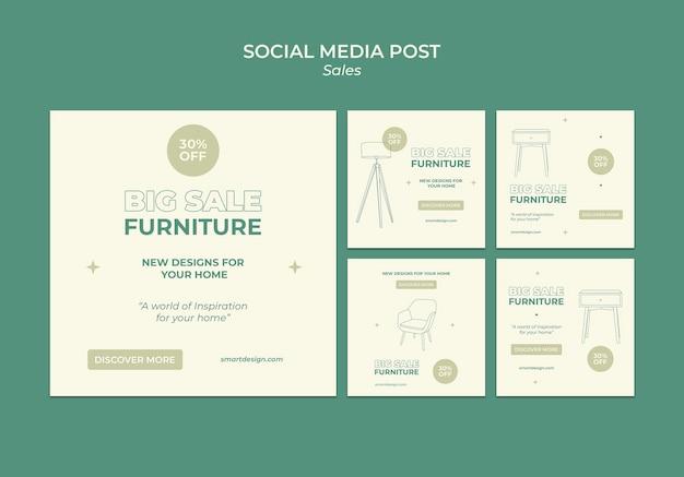 Design de modelo de postagem de mídia social de vendas