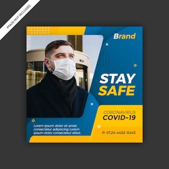 Design de modelo de postagem de mídia social de vírus