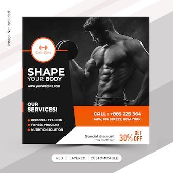Design de modelo de postagem de mídia social do instagram fitness