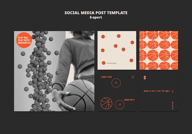 Design de modelo de postagem de mídia social esport