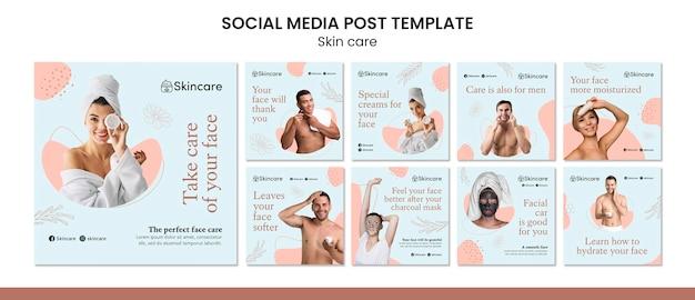 Design de modelo de postagem de mídia social insta cuidados com a pele