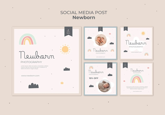 Design de modelo de postagem de mídia social para bebês recém-nascidos
