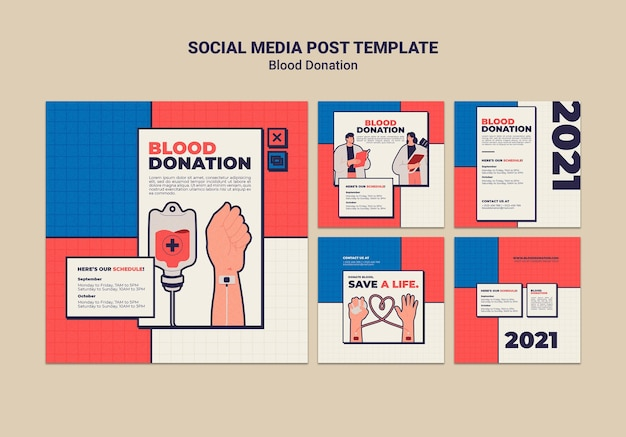 Design de modelo de postagem de mídia social para doação de sangue