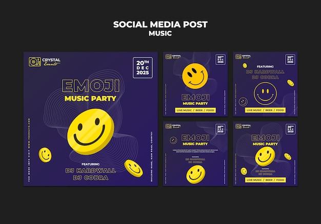 Design de modelo de postagem de mídia social para festa emoji musical