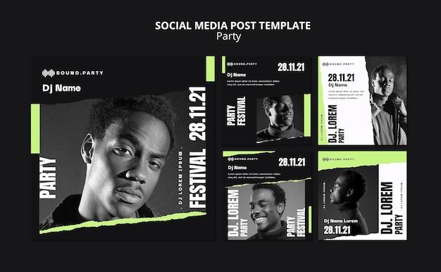 Design de modelo de postagem de mídia social para festas