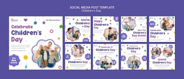 Design de modelo de postagem de mídia social para o dia da criança
