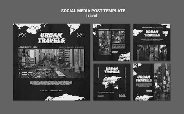 Design de modelo de postagem de mídia social para viagens urbanas