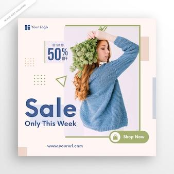 Design de modelo de postagem de mídias sociais de venda