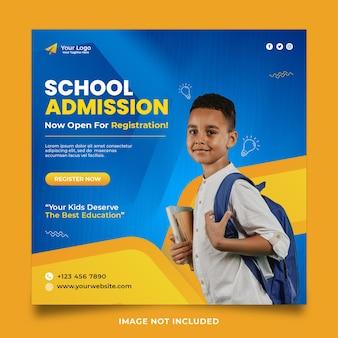 Design de modelo de postagem em mídia social para admissão escolar
