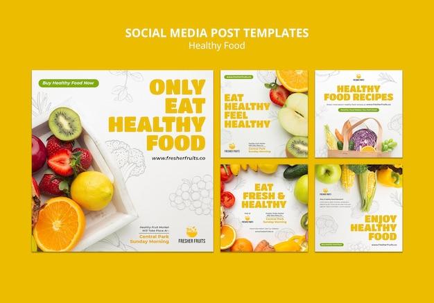 Design de modelo de postagem em mídia social sobre segurança alimentar