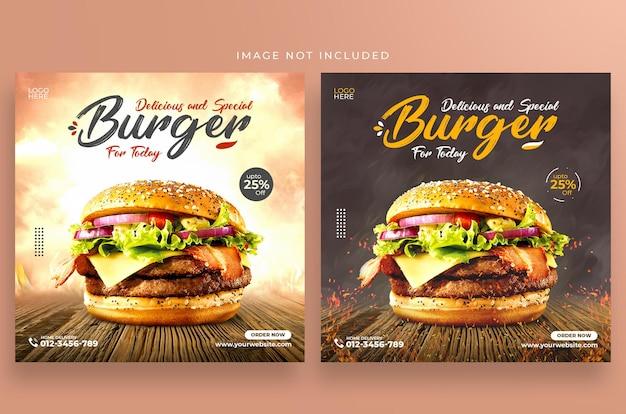 Design de modelo de postagem especial para hambúrguer delicioso no instagram