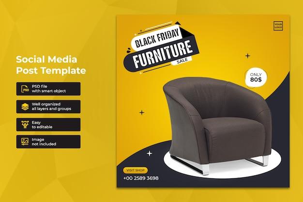 Design de modelo de postagem no instagram exclusivo da black friday para venda de móveis
