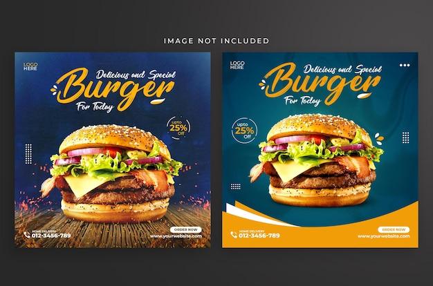 Design de modelo de postagem para hambúrguer especial no instagram