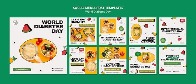 Design de modelo de postagem para mídia social insta do dia mundial da diabetes