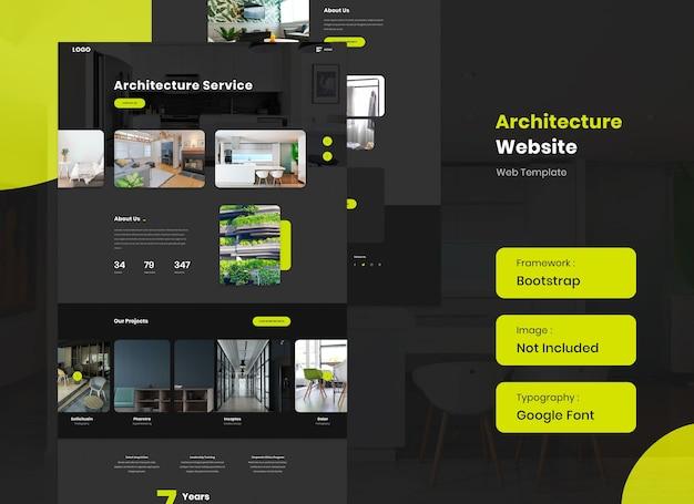 Design de modelo de pouso de site de arquitetura e interiores Psd Premium