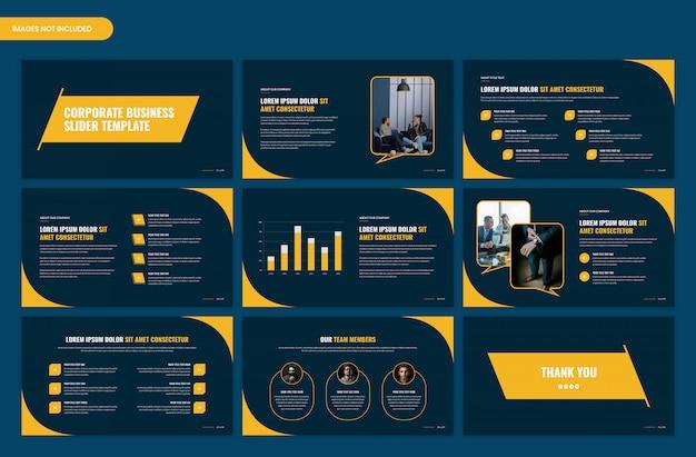 Design de modelo de slider de apresentação de negócios de inicialização corporativa moderna