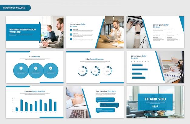 Design de modelo deslizante de apresentação mínima de negócios
