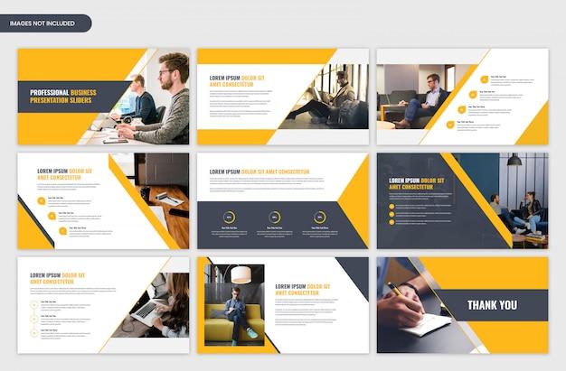 Design de modelo moderno slider amarelo de apresentação de negócios corporativos