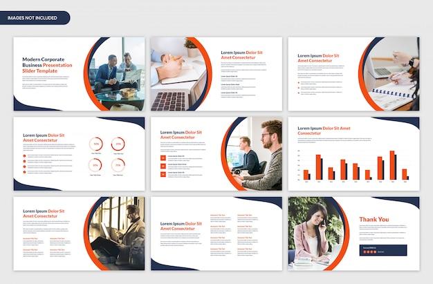Design de modelo moderno slider de apresentação de negócios corporativos