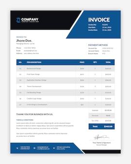 Design de modelo profissional de fatura azul corporativa