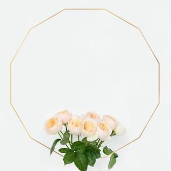 Design de moldura dodecágono floral dourado