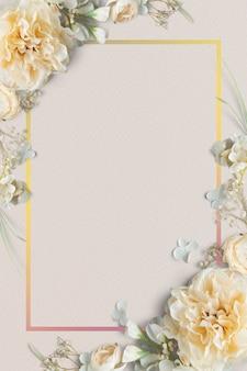 Design de moldura floral em flor em branco